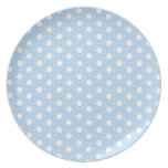 Pastel Blue Polka Dot Pattern Dinner Plates