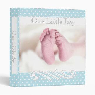 Pastel Blue Polka-Dots Pattern•Babies Feet•Custom• 3 Ring Binder