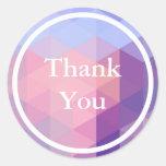 Pastel Blue Purple Geometric pattern Thank You Classic Round Sticker