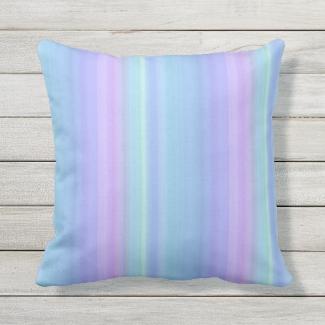 Pastel Blue Purple Green Outdoor Pillow