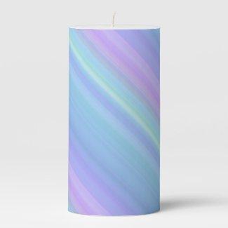 Pastel Blue Purple Green Pillar Candle