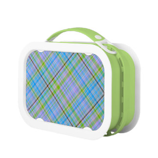 Pastel Blue, Purple & Green Plaid Lunch Box