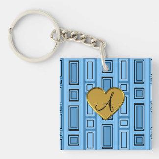 Pastel blue retro squares monogram Single-Sided square acrylic keychain