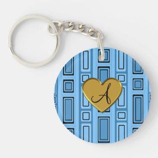 Pastel blue retro squares monogram Single-Sided round acrylic keychain