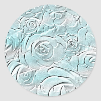 Pastel blue roses classic round sticker