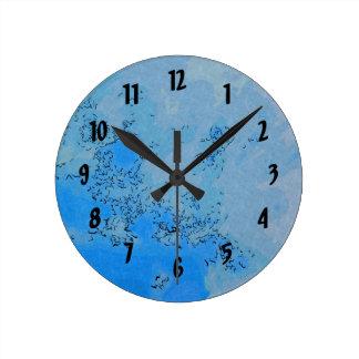 Pastel Blue Skies Design Round Clock