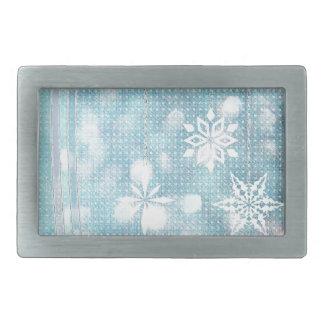 Pastel Blue Snowflakes Belt Buckles