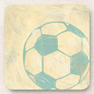 Pastel Blue Soccer Ball by Chariklia Zarris Coaster