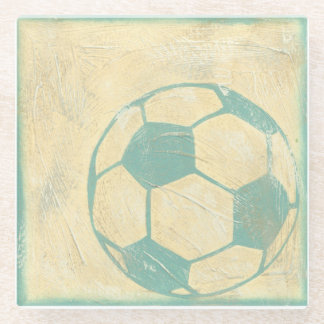 Pastel Blue Soccer Ball by Chariklia Zarris Glass Coaster