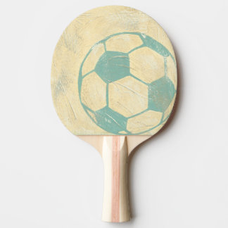 Pastel Blue Soccer Ball by Chariklia Zarris Ping-Pong Paddle