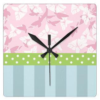 Pastel Blue Striped Pink Floral Green Polka Dots Square Wall Clock
