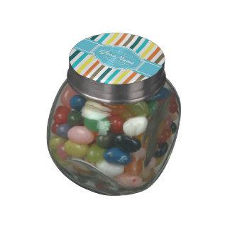 Pastel Blue Stripes Personalized Glass Jars