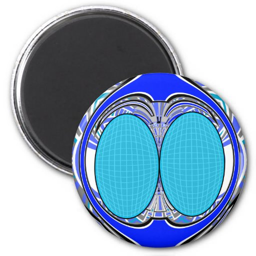 Pastel blue superfly design 2 inch round magnet