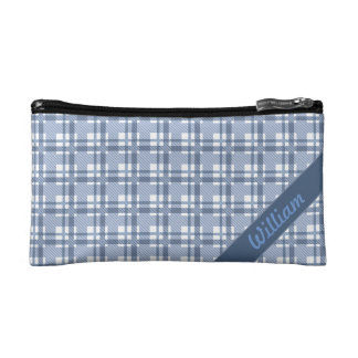 Pastel blue tartan pattern with name cosmetic bag