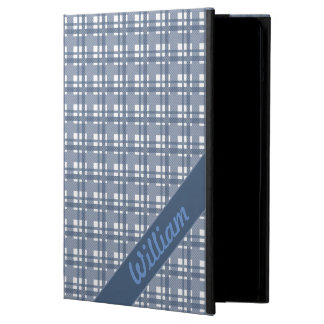 Pastel blue tartan pattern with name ipad cover
