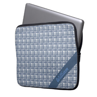 Pastel blue tartan pattern with name laptop sleeve