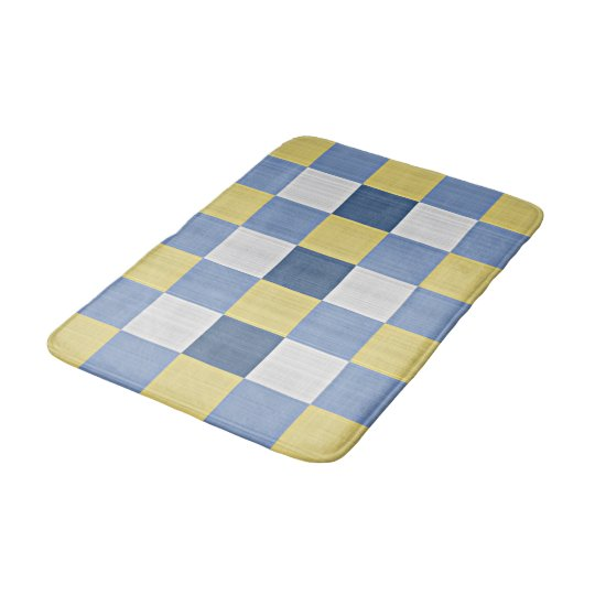 Yellow Checkered Rug: Pastel Blue Teal Yellow White Checkered Pattern Bath Mat