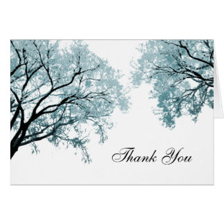Pastel Blue Trees - Thank You Card