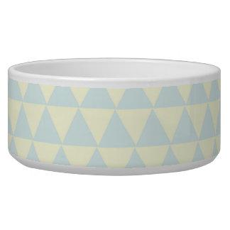 Pastel Blue Triangle Pattern Dog Food Bowl