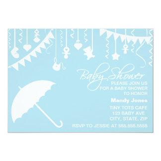 Pastel blue umbrella baby shower invitation