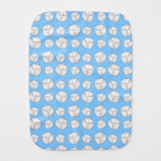 Pastel blue volleyball pattern baby burp cloth