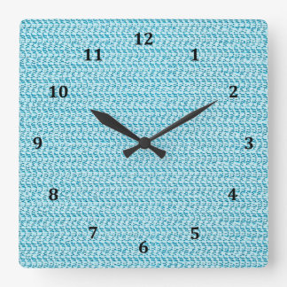 Pastel Blue Weave Mesh Look Square Wall Clock