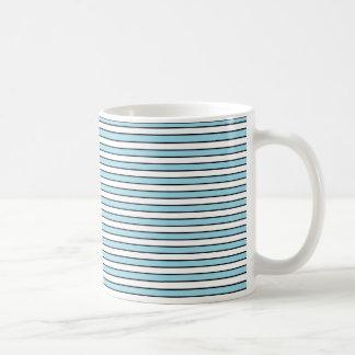 Pastel Blue, White and Black Stripes Coffee Mug