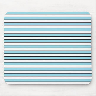 Pastel Blue, White and Black Stripes Mouse Pad