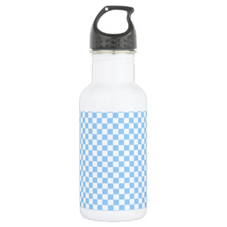 Pastel Blue & White Checks 18oz Water Bottle