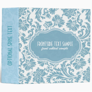 Pastel-Blue & White Floral Damasks Binder