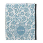 Pastel Blue & White Floral Damasks-Monogram iPad Cases