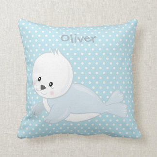 Pastel Blue-White PolkaDot•Baby Arctic Seal•Custom Throw Pillow