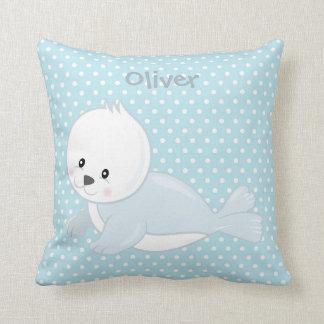 Pastel Blue-White PolkaDot•Baby Arctic Seal•Custom Throw Pillow