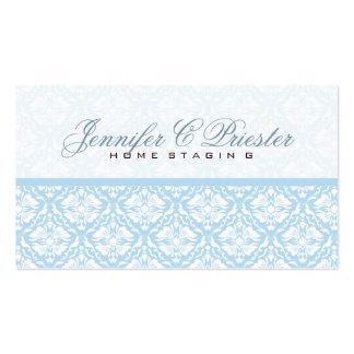 Pastel Blue & White  Vintage Floral Damasks Business Card Templates