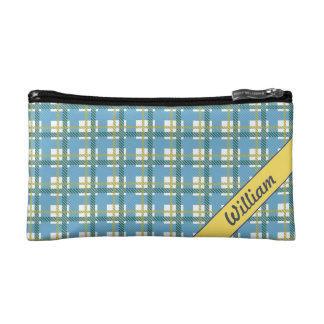 Pastel Blue with bright yellow tartan pattern Makeup Bag