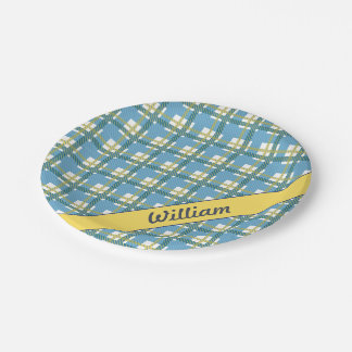 Pastel Blue with bright yellow tartan pattern Paper Plate