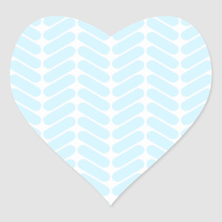 Pastel Blue Zigzag Pattern inspired by Knitting. Heart Sticker