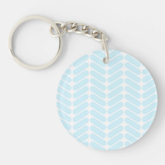 Pastel Blue Zigzag Pattern inspired by Knitting. Double-Sided Round Acrylic Keychain