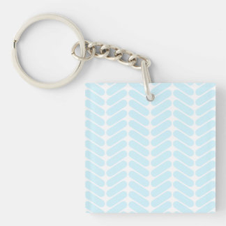 Pastel Blue Zigzag Pattern inspired by Knitting. Single-Sided Square Acrylic Keychain