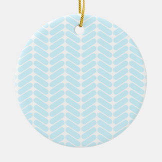 Pastel Blue Zigzag Pattern inspired by Knitting Christmas Ornament