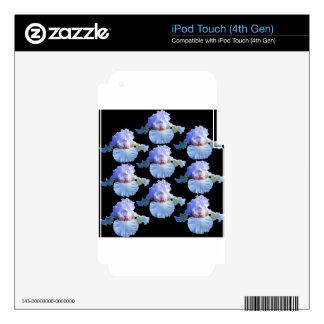 PASTEL BLUISH-WHITE IRIS BLACK GARDEN iPod TOUCH 4G SKIN