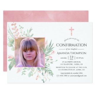 Pastel Blush Greenery Confirmation Invitation