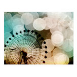 Pastel bokeh blue ferris wheel Carnival Post Card