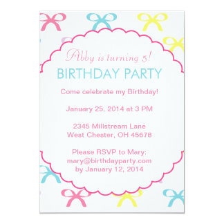 Pastel Bows Birthday Party Invitation for a Girl