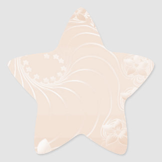 Pastel Brown Abstract Flowers Star Sticker