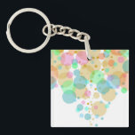 """Pastel Bubbles Circles in Pastels Keychain<br><div class=""""desc"""">A fun and simple design I created using circles in varying transparency and colors.</div>"""