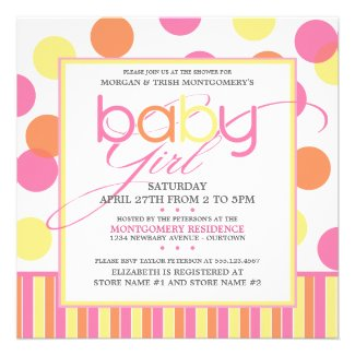 Pastel Bubbles (girl) Baby Shower Invitation