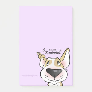Pastel Bull Terrier cartoon sticky notes