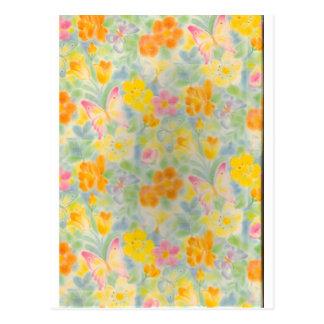 Pastel Butterflies and Flowers Postcard