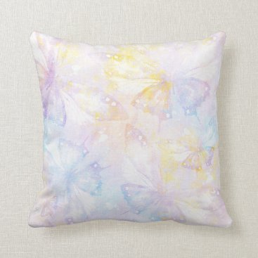 sterlingnights Pastel Butterflies lavender blue yellow Throw Pillow